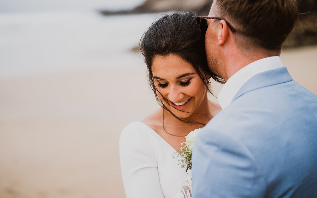 Real Wedding Feature: The inspiration behind Sophie's makeup for her wedding at Lusty Glaze Beach, Cornwall